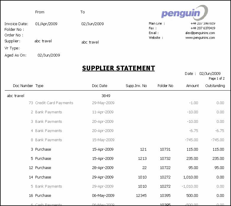 Supplier Statement